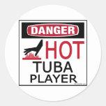 Hot Tuba Player Round Stickers