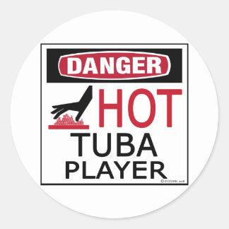 Hot Tuba Player Classic Round Sticker