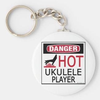 Hot Ukulele Player Basic Round Button Keychain