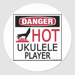 Hot Ukulele Player Classic Round Sticker
