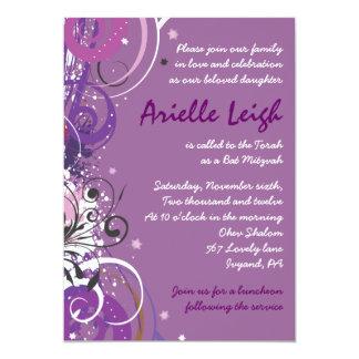 Hot Violet Swirls Stars Bat Mitzvah Invitation