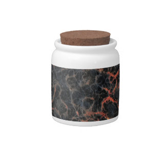 Hot Volcanic Ash Red Lines of Lava Texture Pattern Candy Jars