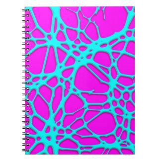 hot web turqoise pink (C) Spiral Notebooks