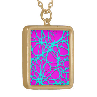 hot web turqoise pink (C) Square Pendant Necklace