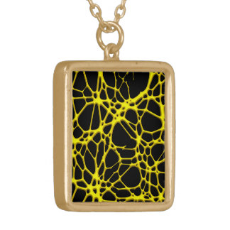 hot web yellow (C) Square Pendant Necklace