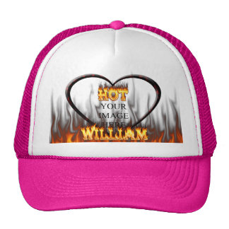 Hot William fire and flames red marble Trucker Hat