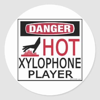 Hot Xylophone Player Classic Round Sticker