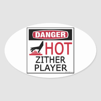 Hot Zither Player Oval Sticker