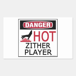 Hot Zither Player Rectangular Sticker