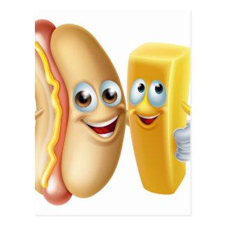 Hotdog and Chip Mascots Postcard