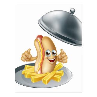Hotdog and Fries Cartoon Postcard