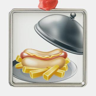 Hotdog and Fries on Platter Metal Ornament
