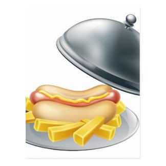 Hotdog and Fries on Platter Postcard