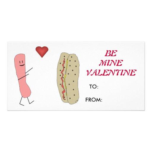 Hotdog & Bun Be Mine Valentine Card Photo Card Template