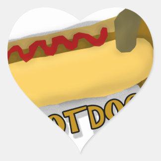 Hotdog Daschund Pun Heart Sticker