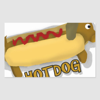 Hotdog Daschund Pun Rectangular Sticker
