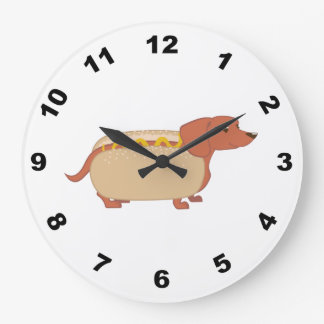 Hotdog Dog Large Clock