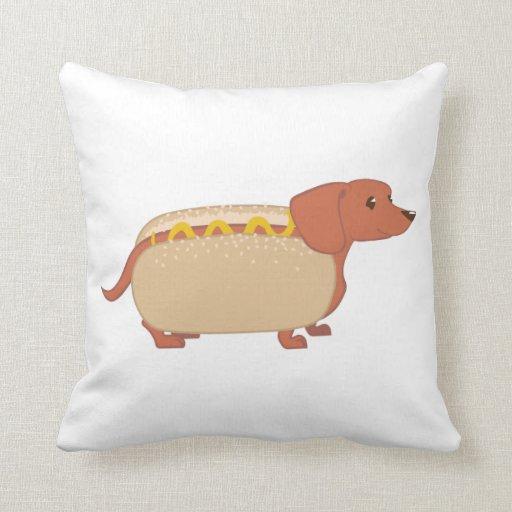 Red Dog Throw Pillows : Hotdog Dog Throw Pillow Zazzle