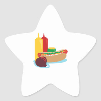 Hotdog Lunch Star Sticker