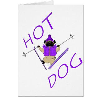 Hotdog Skiing Pug Card