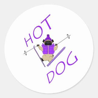 Hotdog Skiing Pug Classic Round Sticker