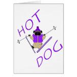 Hotdog Skiing Pug Greeting Cards