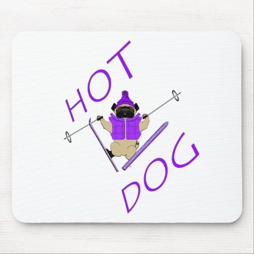 Hotdog Skiing Pug Mouse Pad