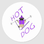 Hotdog Skiing Pug Round Sticker