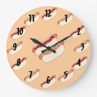 Hotdogs Large Clock