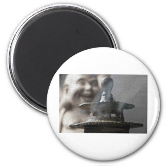 Hotei Buddha and Incense 2 Inch Round Magnet