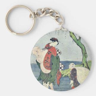 Hotei carrying a girl piggyback by Suzuki,Harunobu Key Chains
