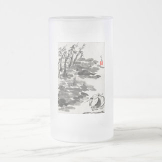 Hotei on a frosted mug. frosted glass beer mug