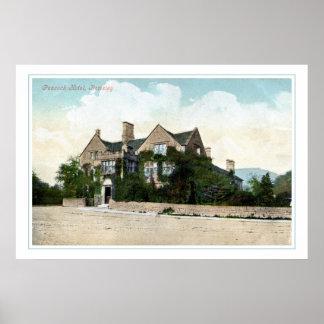 Hotel 1905 del pavo real del vintage Rowsley Póster