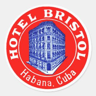 Hotel 1930 Bristol Cuba Pegatina Redonda