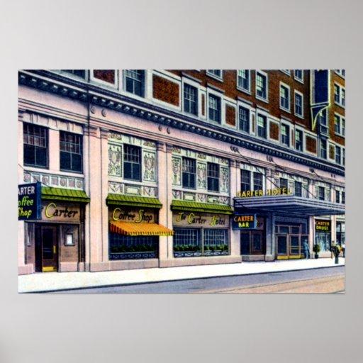 Hotel 9no de Cleveland Ohio Carretero y perspectiv Poster