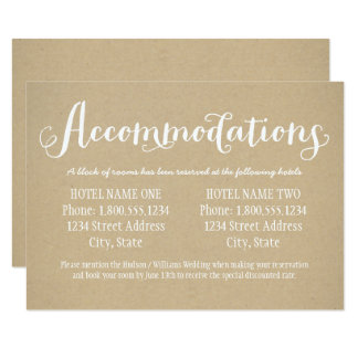 Hotel Accommodation Card | Kraft Brown