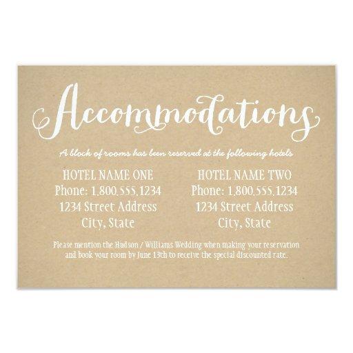 hotel accommodation card kraft brown 3 5 x 5 invitation card zazzle. Black Bedroom Furniture Sets. Home Design Ideas