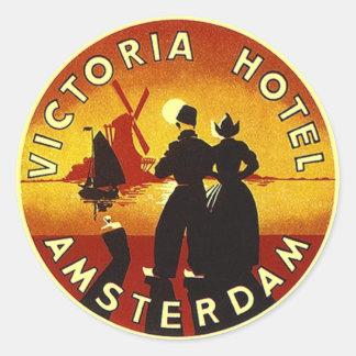 Hotel Amsterdam de los pegatinas VI del equipaje Pegatina Redonda