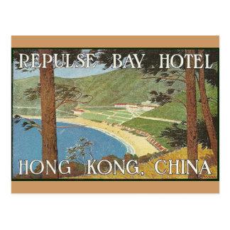 Hotel arte de la etiqueta de Hong Kong, China Deco Tarjetas Postales