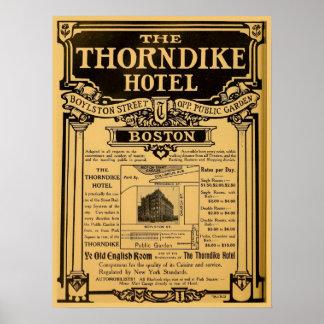Hotel Boston de Thorndike del anuncio de periódico Póster