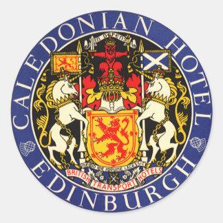 Hotel caledonio Edimburgo Escocia del viaje del Pegatina Redonda