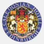 Hotel caledonio Edimburgo Escocia del viaje del vi Pegatinas Redondas