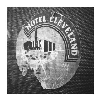 Hotel Cleveland sticker on vintage travel suitcase Canvas Print