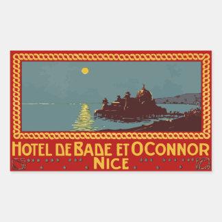 Hotel de Baden y Connor (Niza) Vector formato Pegatina Rectangular