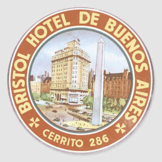 Hotel De Buenos Aires de Bristol Pegatina Redonda