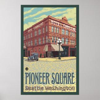 Hotel de Cadillac - Seattle cuadrada pionera, Poster