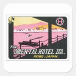 Hotel de Kobe Japón del vintage Pegatina Cuadrada