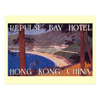 Hotel de la bahía de la repulsión, vintage de Hong Tarjeta Postal
