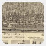 Hotel de la cabaña de Idlewood cerca de Pittsburgh Pegatina Cuadrada