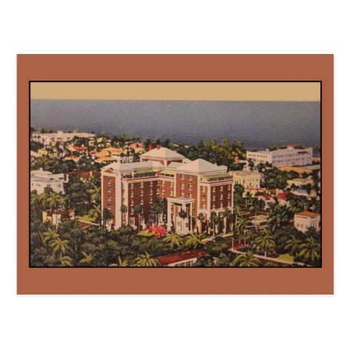Hotel de la colonia del vintage, Palm Beach FL Tarjetas Postales